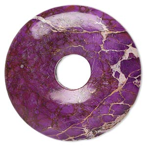 focal, magnesite (dyed / stabilized), purple, 40mm hand-cut round donut, b grade, mohs hardness 3-1/2 to 4. sold individually.