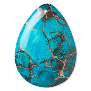 focal, magnesite (dyed / stabilized), turquoise blue, 50x37mm hand-cut top-drilled teardrop with flat back, b grade, mohs hardness 3-1/2 to 4. sold individually.
