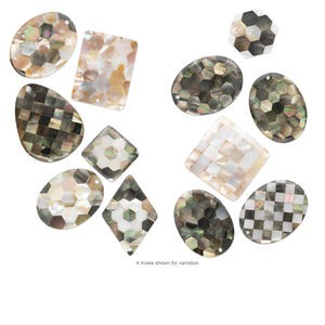 focal mix, black lip shell / gold lip shell / mother-of-pearl shell (assembled), 25x25mm-44x35mm mixed shape with inlaid mixed design, mohs hardness 3-1/2. sold per pkg of 3.
