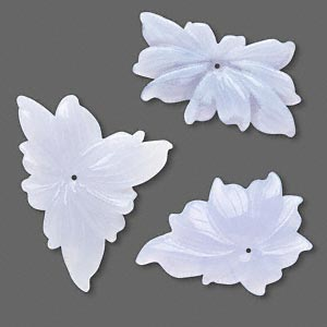 focal mix, blue lace agate (natural), 32x28mm-62x42mm carved flower, b grade, mohs hardness 6-1/2 to 7. sold per pkg of 3.