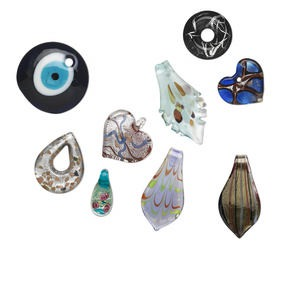 focal mix, lampworked glass, multicolored, 27-60mm mixed shapes. sold per pkg of 3.