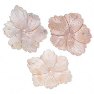 focal mix, pink opal (natural), 49x44x6mm-88x47x11mm center-drilled carved flower, d grade, mohs hardness 5 to 6-1/2. sold per pkg of 3.