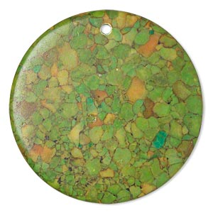 focal, mosaic turquoise (dyed / assembled), green, 40mm top-drilled flat round, mohs hardness 3-1/2 to 4. sold per pkg of 2.
