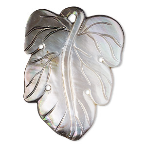 focal, mother-of-pearl shell (natural), 44x31mm single-sided leaf, mohs hardness 3-1/2. sold individually.