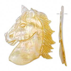 focal, mother-of-pearl shell (natural), 58x50mm horse head, mohs hardness 3-1/2. sold individually.