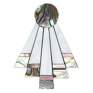 focal, multi-shell / aluminum / resin (assembled), black, 42x32mm single-sided abstract triangle. sold individually.