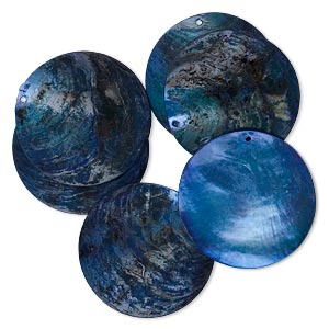 focal, mussel shell (dyed / coated), dark blue, 40mm flat round. sold per pkg of 6.
