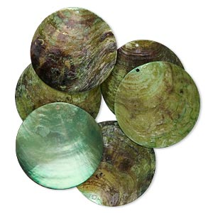 focal, mussel shell (dyed / coated), light green, 40mm flat round. sold per pkg of 6.