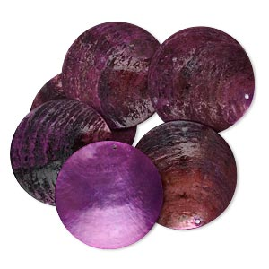 focal, mussel shell (dyed / coated), purple, 40mm flat round. sold per pkg of 6.
