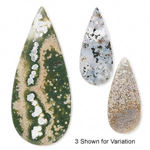 focal, ocean jasper (natural), 46x20mm flat teardrop, b- grade, mohs hardness 6-1/2 to 7. sold individually.