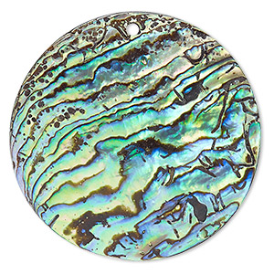 focal, paua shell (natural), 45mm top-drilled round, mohs hardness 3-1/2. sold individually.