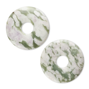 focal, peace jade (natural), 30mm round donut, b grade, mohs hardness 6 to 6-1/2. sold per pkg of 2.