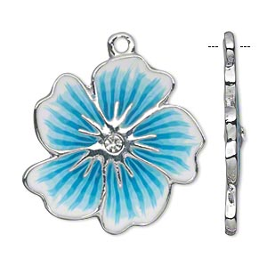 focal, polymer clay / glass rhinestone / silver-finished pewter (zinc-based alloy), dark blue / light blue / white, 30x29mm single-sided flower. sold per pkg of 2.