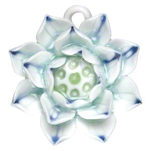 focal, porcelain, blue / green / white, 40x38mm-42x42mm single-sided lotus with partially hidden loop. sold individually.