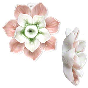 focal, porcelain, pink / green / white, 38x38mm-42x42mm single-sided lotus with partially hidden loop. sold individually.