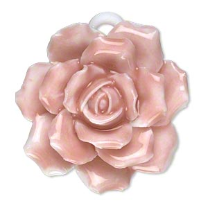 focal, porcelain, pink and white, 36x36mm-44x44mm single-sided rose with partially hidden loop. sold individually.