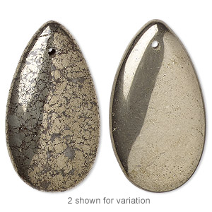 focal, pyrite (stabilized), 36x20mm teardrop, b grade, mohs hardness 6 to 6-1/2. sold per pkg of 2.