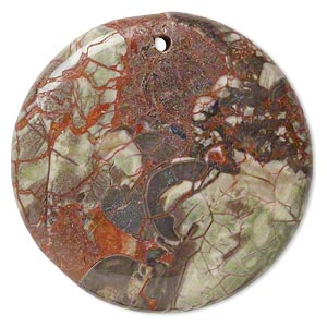focal, rainbow rhyolite (natural), 45mm hand-cut top-drilled flat round, b grade, mohs hardness 6-1/2 to 7. sold individually.