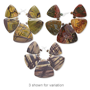 focal, red creek jasper (stabilized) 30x30x30mm-44x44x44mm graduated hand-cut triangle, b grade, mohs hardness 6-1/2 to 7. sold per 5-piece set.