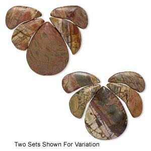 focal, red creek jasper (stabilized), 31x15mm-35x17mm crescent with flat back and 45x35mm teardrop with flat back, b grade, mohs hardness 6-1/2 to 7. sold per 5-piece set.