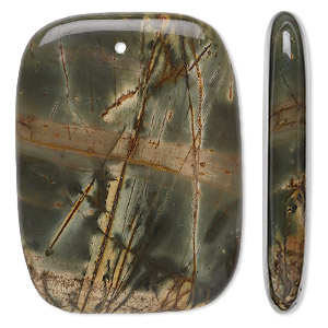 focal, red creek jasper (stabilized), 40x30mm rectangle, b grade, mohs hardness 6-1/2 to 7. sold per pkg of 2.