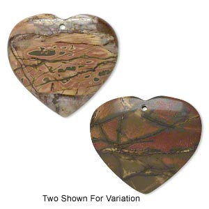 focal, red creek jasper (stabilized), 44x38mm top-drilled heart with flat back, b grade, mohs hardness 6-1/2 to 7. sold individually.
