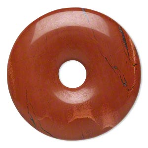focal, red jasper (natural), 40mm hand-cut round donut, b grade, mohs hardness 6-1/2 to 7. sold individually.