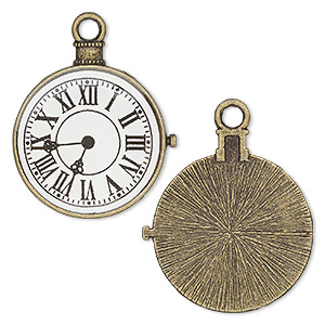 focal, resin and antique brass-plated pewter (zinc-based alloy), black and white, 33x31mm single-sided pocket watch. sold per pkg of 2.