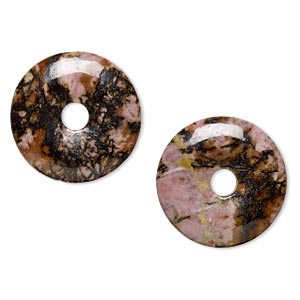 focal, rhodonite (natural), 30mm round donut, b grade, mohs hardness 5-1/2 to 6-1/2. sold per pkg of 2.