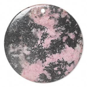 focal, rhodonite (natural), 50mm flat round, c grade, mohs hardness 5-1/2 to 6-1/2. sold individually.