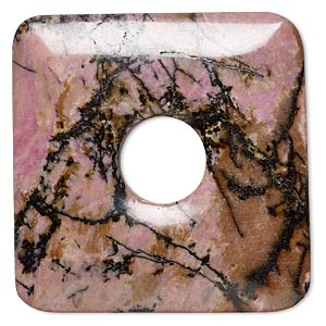 focal, rhodonite (natural), 50x50mm square donut, b grade, mohs hardness 5-1/2 to 6-1/2. sold individually.