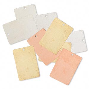 focal, silver- / gold- / copper-finished brass, 30x20mm double-sided rectangle. sold per pkg of 8.