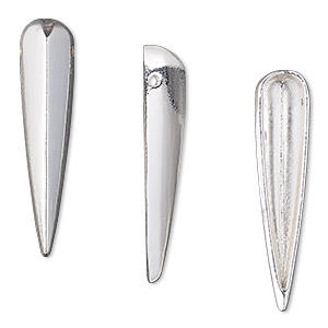focal, silver-finished pewter (zinc-based alloy), 32x7mm single-sided hollow spike. sold per pkg of 6.
