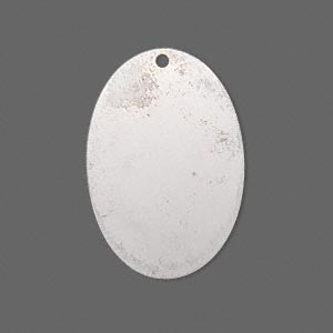 focal, silver-plated brass, 30x20mm double-sided top-drilled oval. sold per pkg of 6.