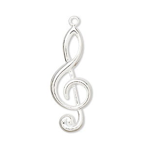 focal, silver-plated brass, 31x12mm treble clef. sold per pkg of 50.