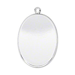 focal, silver-plated brass, 31x23mm oval with beaded edge and 30x22mm oval bezel cup setting. sold per pkg of 2.