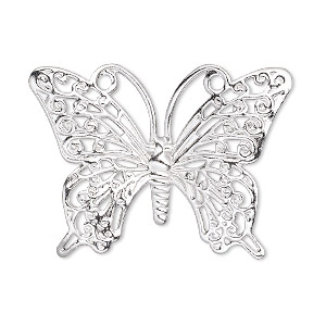focal, silver-plated brass, 36x26mm single-sided fancy butterfly. sold per pkg of 10.