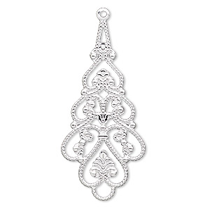 focal, silver-plated brass, 38x18mm filigree teardrop. sold per pkg of 10.