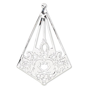 focal, silver-plated brass, 41x29mm kite with leaves. sold per pkg of 10.