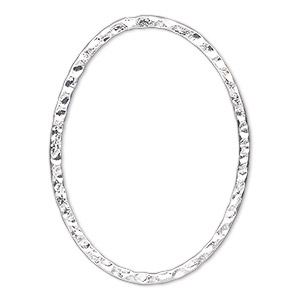 focal, silver-plated steel, 40x30mm double-sided hammered open oval. sold per pkg of 6.