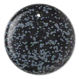 focal, snowflake obsidian (natural), 40mm hand-cut top-drilled round with flat back, b grade, mohs hardness 5 to 5-1/2. sold individually.
