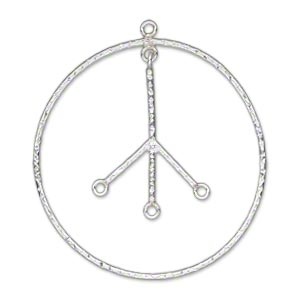 focal, sterling silver, 35mm textured flat peace sign with 3 loops. sold individually.
