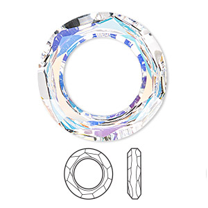 focal, swarovski crystals, crystal ab, 30mm faceted cosmic ring fancy stone (4139). sold per pkg of 18.