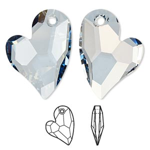 focal, swarovski crystals, crystal blue shade, 36x26mm faceted devoted 2 u heart pendant (6261). sold per pkg of 12.