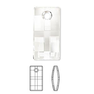 focal, swarovski crystals, crystal clear, 30mm faceted urban pendant (6696). sold per pkg of 10.