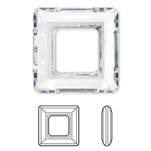 focal, swarovski crystals, crystal clear, 30x30mm faceted square ring fancy stone (4439). sold per pkg of 12.