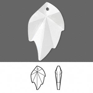 focal, swarovski crystals, crystal clear, 32x20mm faceted leaf pendant (6735). sold per pkg of 30.