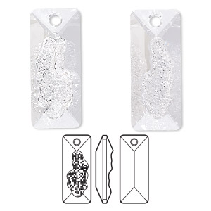 focal, swarovski crystals, crystal clear, 36mm faceted grow rectangle pendant (6925). sold per pkg of 6.
