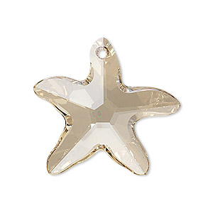 focal, swarovski crystals, crystal golden shadow, 30x28mm faceted starfish pendant (6721). sold per pkg of 12.