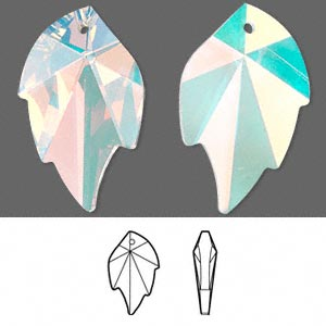 focal, swarovski crystals, crystal passions, crystal ab, 32x20mm faceted leaf pendant (6735). sold individually.